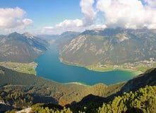 Ansicht zum achensee und zu den Dörfern, Österreich Stockbild