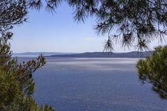 Ansicht zum Berg und zu den Inseln, adriatisches Meer, Kroatien Lizenzfreie Stockbilder