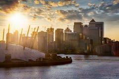 Ansicht zum Finanzbezirk von London, Canary Wharf, Vereinigtes Königreich lizenzfreie stockfotografie
