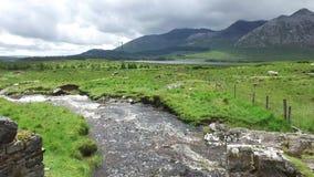 Ansicht zum Fluss und zu den Hügeln am connemara in Irland 38 stock footage