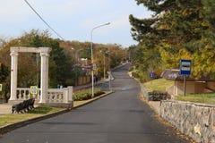 Ansicht zum Gagarin-Boulevard nahe Kolonnade in Pyatigorsk, Russland Lizenzfreies Stockbild