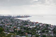Ansicht zum Hafen von Berdyansk Stockbild