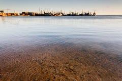 Ansicht zum Hafen von Berdyansk Stockfotos