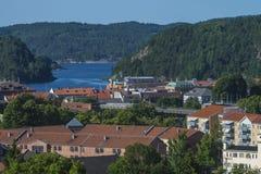 Ansicht zum Hafen von halden Lizenzfreies Stockfoto