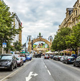 Ansicht zum Herzen von Frankfurt beim Kaiserstrasse Lizenzfreies Stockbild