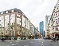 Ansicht zum Herzen von Frankfurt beim Kaiserstrasse Lizenzfreie Stockfotografie