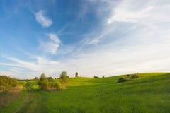 Ansicht zum hummocky Ackerland Stockbild