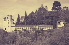 Ansicht zum Palast von Generalife granada Lizenzfreies Stockbild