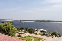 Ansicht zum Volga-Fluss Wolgagrad Russland Stockbild