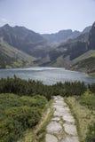 Ansicht, zum von Teich von den Tatra-Bergen mit Stein-pfad zu schwärzen lizenzfreies stockbild
