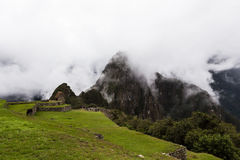 Ansicht zur Spitze von Huayna Picchu Stockbild