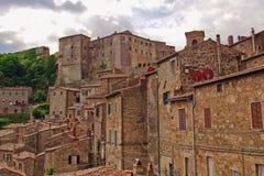 Ansicht zur Stadt von Sorano stockfoto