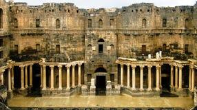 Ansicht zur Szene von Bosra-Amphitheater, Syrien lizenzfreie stockbilder