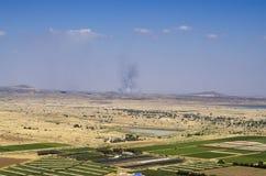 Ansichten über die Grenze zwischen Israel und Syrien Stockbilder