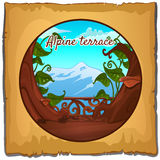Ansichten der Alpen von der Terrasse Stockbild
