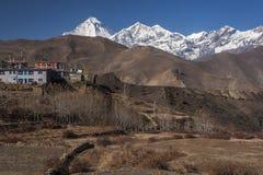 Ansichten des Bergs Dhaulagiri Stockbild