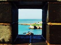Ansichten des Meeres vom Wall an Chengshan-Kap in China Lizenzfreies Stockfoto