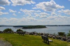 Ansichten von Boston-Hafen von den Schauspiel-Insel-Bänke lizenzfreie stockbilder