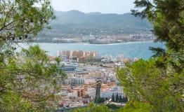Ansichten von der Seite des Hügels in der Nähe in St. Antoni de Portmany Balearic Islands, Ibiza, Spanien Lizenzfreies Stockbild