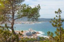 Ansichten von der Seite des Hügels in der Nähe in St. Antoni de Portmany Balearic Islands, Ibiza, Spanien Lizenzfreies Stockfoto