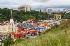 Ansichten von Gebäuden vom Schlosshügel oder von Zamkova Hora in Kiew Lizenzfreies Stockbild