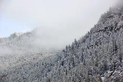 Ansichten von Schnee-mit einer Kappe bedeckten Bergen Lizenzfreie Stockfotografie