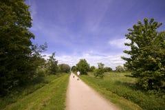 Ansichten von vom Greenway-Fußweg und veralteten dem Gleis des Radweges Stockfotografie