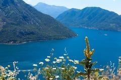Ansichtskarteansicht der Küstenlinie der Boka-Kotorbucht, Montenegro Lizenzfreies Stockbild