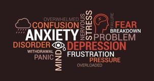 Ansiedade, transtornos mentais e nuvem da etiqueta da depressão ilustração royalty free