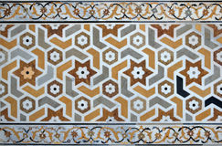Ansient islamic mosaic. Anсient interlace islamic pattern, inlaed marble,Itmad-ud-Daula's Tomb ,Agra, India Royalty Free Stock Photography
