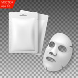 Ansikts- förpacka för maskeringsskönhetsmedel Packedesign för framsidamaskering på genomskinlig bakgrund Arkivbild