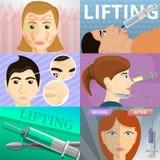 Ansikts- lyftande baneruppsättning, tecknad filmstil stock illustrationer
