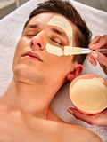 Ansikts- maskering för gyttja av mannen i brunnsortsalong Närbild av en ung kvinna som får Spa behandling arkivbild