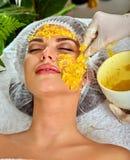 Ansikts- maskering från frukter för kvinna Flicka i medicinsk hatt Fotografering för Bildbyråer