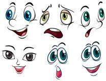 ansikts- olika uttryck stock illustrationer