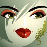 Ansikts- sinnesrörelser av en ung nätt kvinna med en modern frisyr stock illustrationer