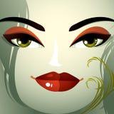 Ansikts- sinnesrörelser av en ung nätt kvinna med en modern frisyr C stock illustrationer