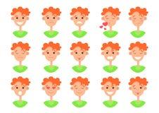 Ansikts- sinnesrörelsesymbol, smiley framsidauppsättning, plan färgrik teckning, leendesamling Gullig rolig rödhårig mangrabbbyst royaltyfri illustrationer