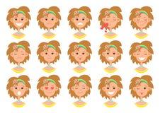 Ansikts- sinnesr?relsesymbol, smiley framsidaupps?ttning, plan f?rgrik teckning, leendesamling Gullig rolig brun h?rflickabyst me royaltyfri illustrationer