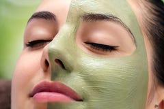 Ansikts- skönhethavsväxtbehandling på ung kvinna royaltyfria foton