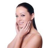 ansiktsbehandling isolerad massagewhite arkivbild