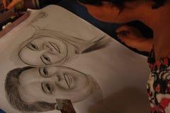 Ansiktsbehandlingen skissar bild Royaltyfria Foton