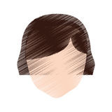 ansiktslös frisyr för teckningskvinnlig elevrepresentant royaltyfri illustrationer