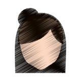ansiktslös frisyr för teckningskvinnlig elevrepresentant vektor illustrationer