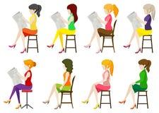 Ansiktslösa damer som ner sitter stock illustrationer