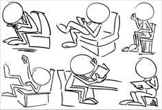 Ansiktslöst sitta för tecken Fotografering för Bildbyråer