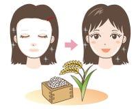 Ansiktsmask - ris - Japan typ vektor illustrationer
