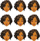 Ansiktsuttryck av kvinnan (den afrikanska nedstigningen) Royaltyfri Bild