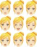 Ansiktsuttryck av kvinnan (den Caucasian nedstigningen) Arkivbild
