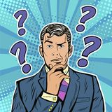 Ansiktsuttryck för affärsman för popkonst vänder mot skeptiska med frågefläckar vektor illustrationer